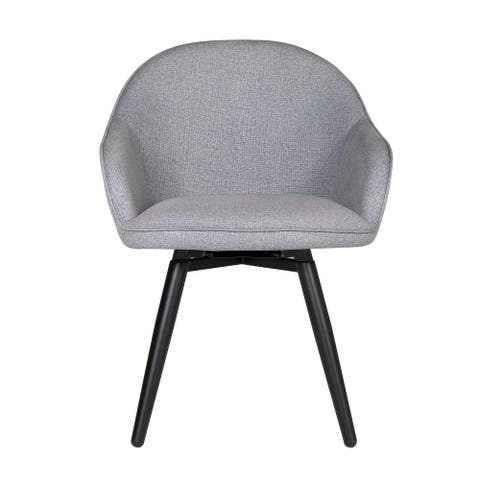 """Offex Home Dome Swivel Dining/Office Chair with Arms in Heather Grey - 24""""W x 23""""D x 32.5""""H"""