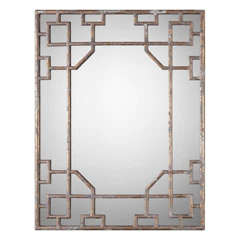 "36"" Asian-Inspired Antique Mirror"