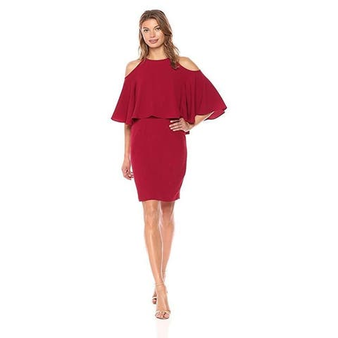 Adrianna Papell Women's Textured Crepe Cold Shoulder Sheath, Cranberry, SZ 6