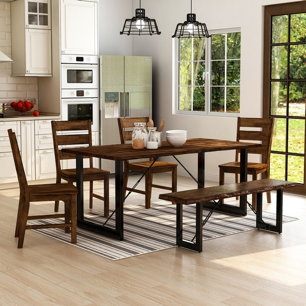 Furniture of America Mass Industrial Solid Wood 6-piece Dining Set. Opens flyout.