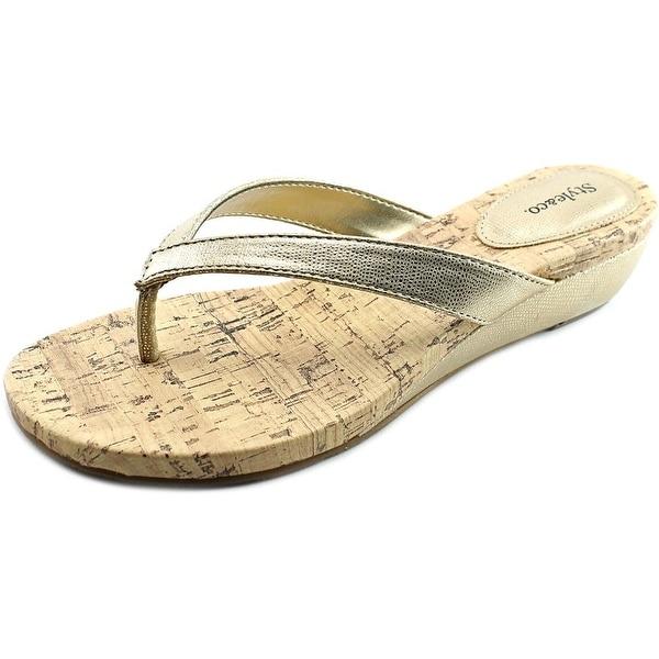 Style & Co Haloe Women Open Toe Synthetic Gold Wedge Sandal