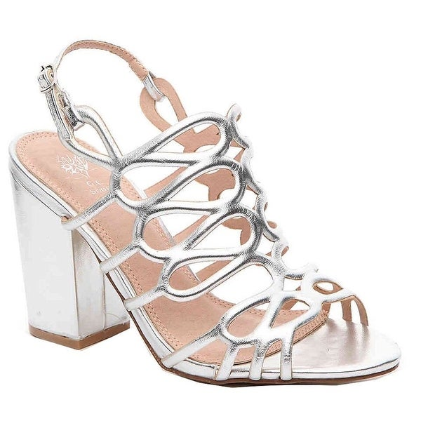 Gc Shoes Women's Posh Metallic Covered Block Heeled Sandals - 8.5