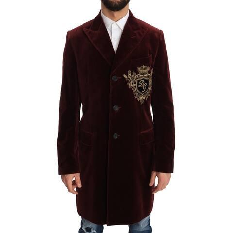 Dolce & Gabbana Long Red Bordeaux Velvet Jacket Men's Coat - it48-m