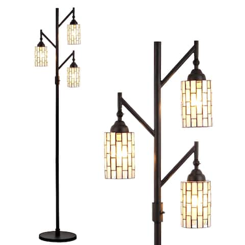 """Lewis Tiffany-Style 71"""" Multi-Light LED Floor Lamp, Bronze by JONATHAN Y - 71"""" H x 26.5"""" W x 11.88"""" D"""