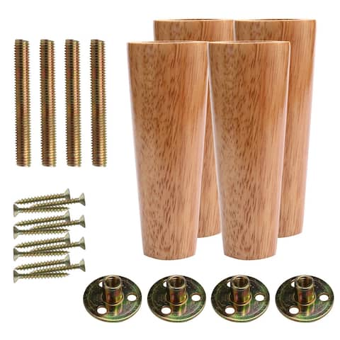 6 Inch Round Solid Wood Furniture Legs Adjuster Set of 4 - Wood Color