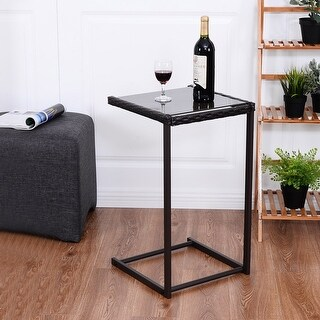 Genial Costway Brown Coffee Tray Side Sofa End Table Rattan PE Wicker Square Glass  Furniture