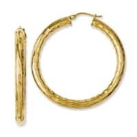 Chisel Stainless Steel Yellow IP-plated Textured & Polished Hoop Earrings