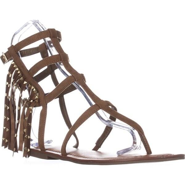 Indigo Rd. Beth Fringe Flat Sandals, Medium Brown