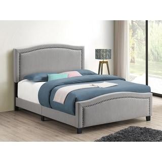 Link to Copper Grove Mangoiki Upholstered Panel Bed with Camel Headboard Similar Items in Bedroom Furniture