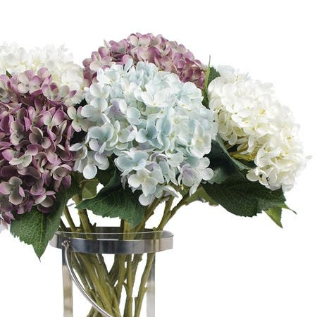 "FloralGoods Silk Small Petal Hydrangea Stem in Light Blue Light Purple and Cream White 20"" Tall"