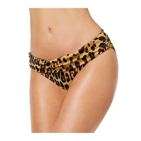Ralph Lauren Leopard Print Foldover Bikini Bottom 12 Brown Womens Swimsuit