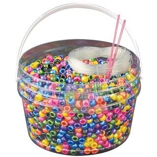 Kandi Kids Pony Bead Bucket Kit-Pearl Multicolor
