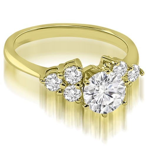 1.10 cttw. 14K Yellow Gold Cluster Round cut Diamond Engagement Ring