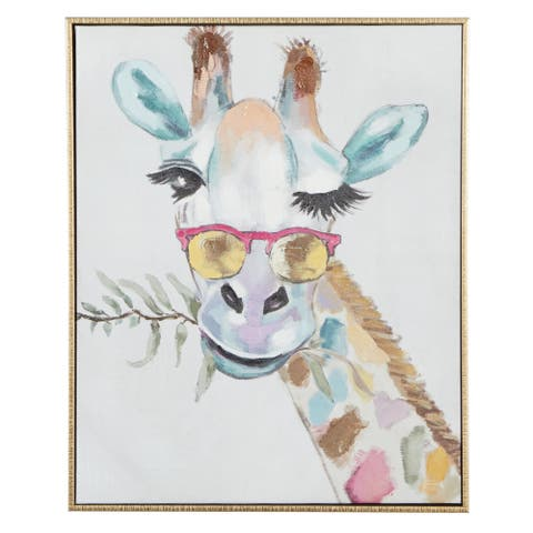 """Rectangular Multi Colored Whimsical Giraffe Canvas Wall Art With Gold Wood Frame 17"""" X 21"""""""