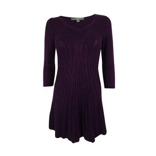 NY Collection Women's 3/4 Sleeves V-Neck Cable Knit Dress