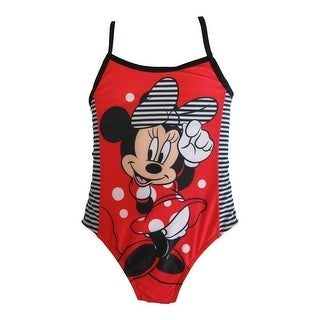 Disney Little Girls Red Minnie Mouse One Piece UPF 50+ Swimsuit Girls