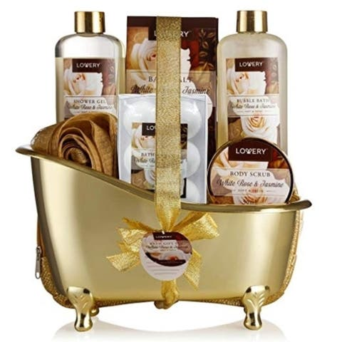 Luxury 13 Piece Bath & Body Spa Gift Basket Set For Men & Women, White Rose & Jasmine Fragrance