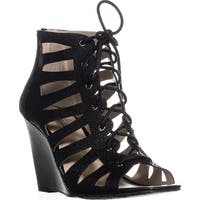 I35 Silviah Lace Up Strappy Wedge Sandals, Black