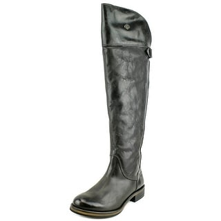 Harley Davidson Monique Women Round Toe Leather Black Over the Knee Boot