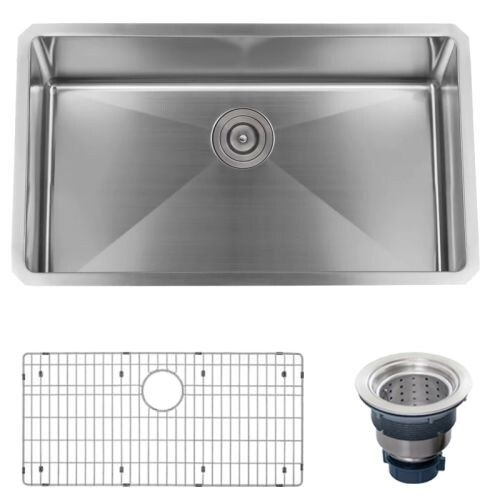 "Miseno MSS3219SR 32"" Undermount Single Basin Stainless Steel Kitchen Sink - Drain Assembly and Fitted Basin Rack Included Free - Thumbnail 0"