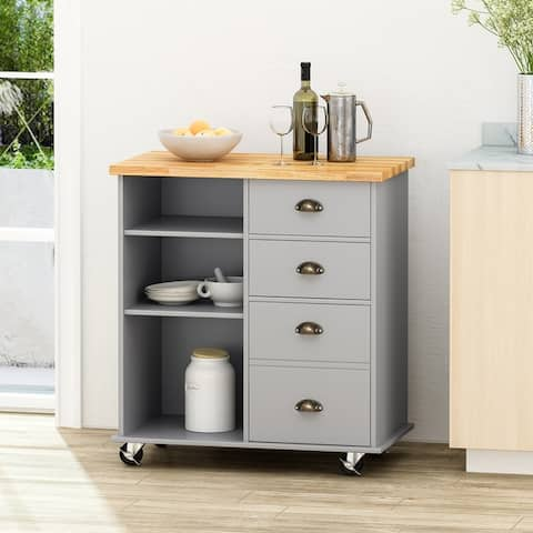 """Provence Contemporary Kitchen Cart with Wheels by Christopher Knight Home - 31.50"""" W x 17.75"""" D x 34.50"""" H"""