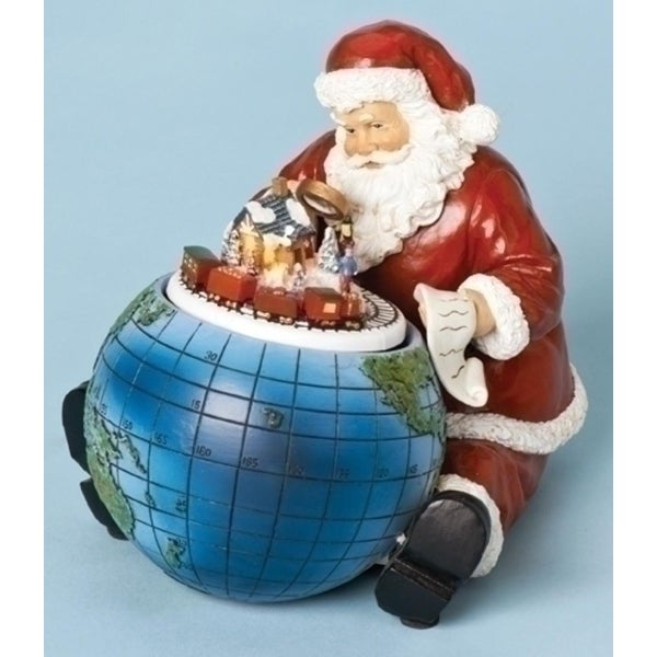 "6.5"" Amusements Musical Rotating Santa Claus with Globe Christmas Figure"
