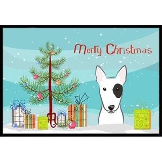 Carolines Treasures BB1581MAT Christmas Tree & Bull Terrier Indoor or Outdoor Mat 18 x 27