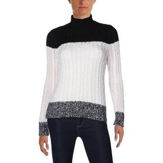 Aqua Womens Mock Turtleneck Sweater Cashmere Colorblock - xs