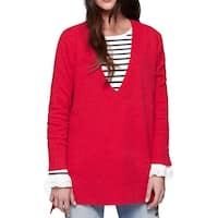 Sanctuary Red Women's Size Medium M Hi-Low V-Neck Wool Sweater