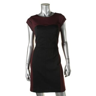 Rebecca Taylor Womens Ponte Colorblock Wear to Work Dress