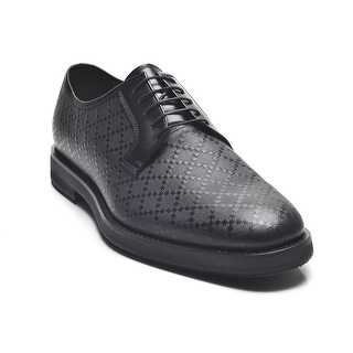 Gucci Men's Diamante Leather Lace-up Oxford Shoes Black