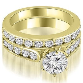 14k yellow gold cathedral round cut diamond bridal set