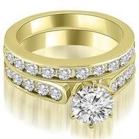3.69 cttw. 14K Yellow Gold Cathedral Round Cut Diamond Bridal Set