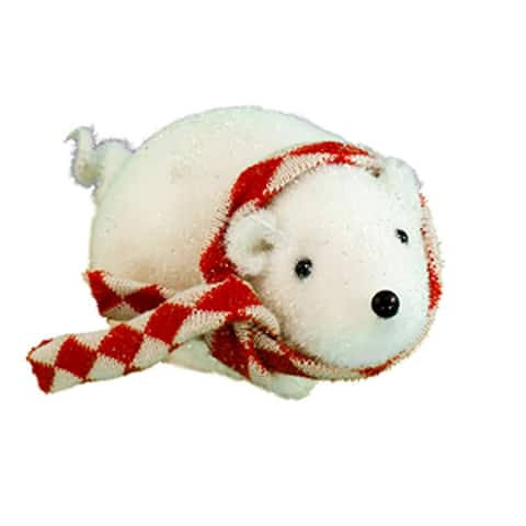 """3.50""""White and Red Checkered Scarf Small Mouse"""