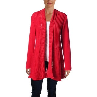 NY Collection Womens Long Sleeves Open Front Cardigan Sweater