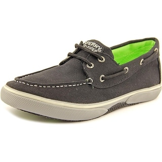 Sperry Top Sider Halyard Youth Moc Toe Canvas Black Boat Shoe