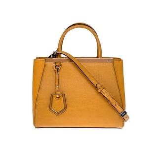 Fendi 2Jours Elite Black Leather Shopper Handbag Tan