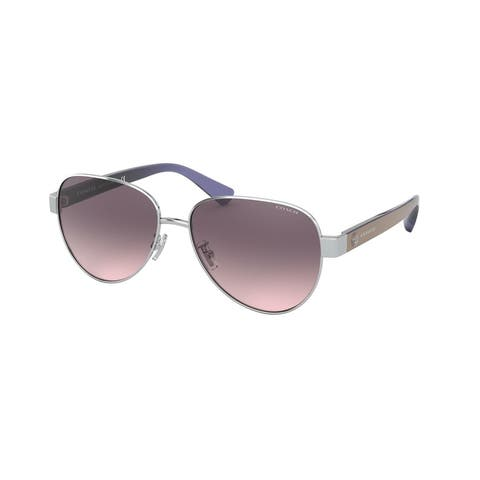 Coach HC7111 900146 57 Shiny Silver Woman Pilot Sunglasses