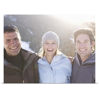 Poster Print entitled Friends smiling in snowy scene