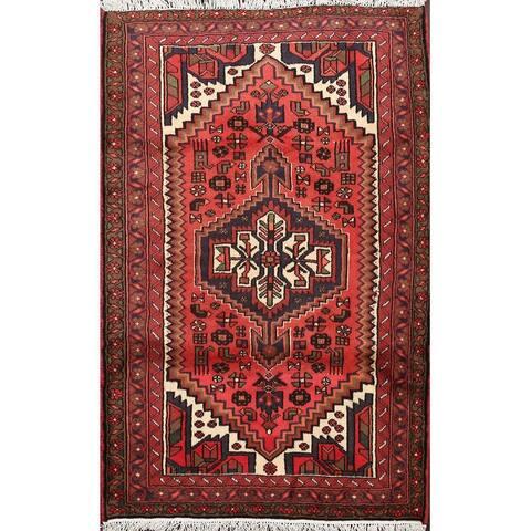 "Tribal Geometric Hamedan Persian Traditional Area Rug Wool Handmade - 3'4"" x 4'7"""