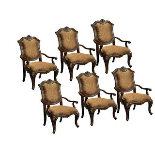 Marguax Arm Dining Chair - Cushion Back Set of 6 - Neutral