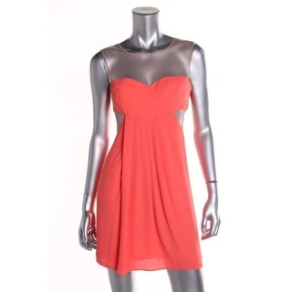 BCBG Max Azria Womens Petites Clubwear Dress Mesh Inset Sleeveless