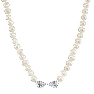 Honora 7-8 mm Freshwater Cultured Pearl Strand Necklace with Cubic Zirconia Bow in Sterling Silver