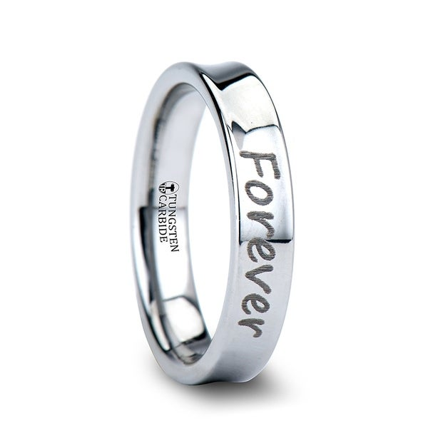 Handwritten Engraved Concave Tungsten Ring Polished- 4mm