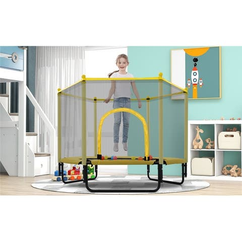 5FT Trampoline with Safety Enclosure Net, Outdoor or Indoor Mini Toddler Trampoline