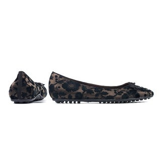 Car Shoe Womens Brown Black Floral Embroidered Flats