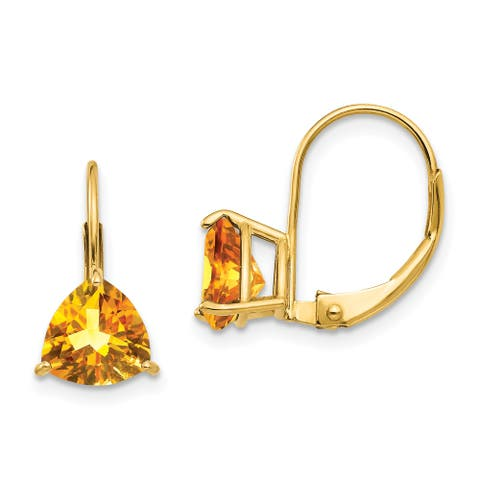 14K Yellow Gold 7mm Trillion Citrine Leverback Earrings by Versil