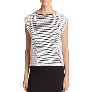 Eileen Fisher Womens Crop Top Perforated Boxy