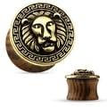 Lion Center and Maze Antique Gold Plated Organic Wood Saddle Plug (Sold Individually) - Thumbnail 0