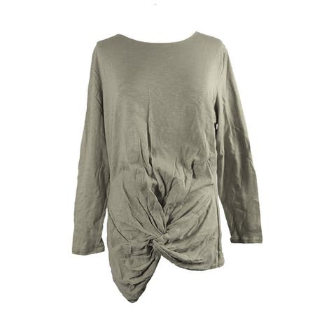Whitespace Plus Size Heather Grey Twist-Hem T-Shirt 0X